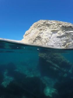 Playa La Caleta - Playa La Caleta - Fondo marino con formación rocosa y posidonias. Vistas del acantilado costero