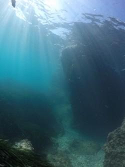 Playa La Caleta - Playa La Caleta - Vistas del fondo marino de arena con colonias de posidonia. Formación rocosa. Practicando snorkel o buceo.
