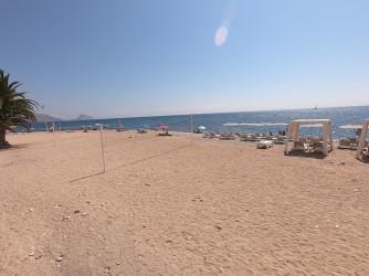 Roda Beach - Roda Beach - Area with two volleyball nets and hammock rental.