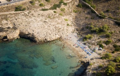Almadraba Cove - Almadraba Cove - Aerial panoramic view, crystalline waters and rocky bottom.